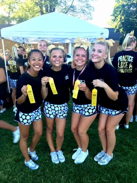 Nina Sengpaseuth, Rylie Anderson, Maggie Rowland and Melissa Belnap became stunt champions at camp by performing a stunt sequence perfectly in every round of competition. Photo courtesy of Ciera Stanley