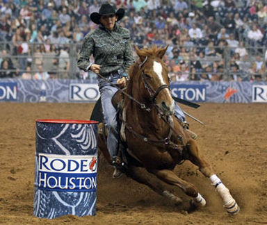 Nancy and Fuzz at Rodeo Houston where they won the $50,000 grand prize. Photo courtesy of the Hunter family