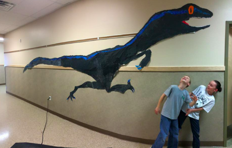 """Ascent Academy students enjoy the """"dinosaur cluster."""" Photo courtesy of Ascent Academy"""