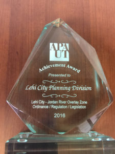 Achievement Award presented to the Lehi City Planning Division. Photo courtesy of Kim Struthers