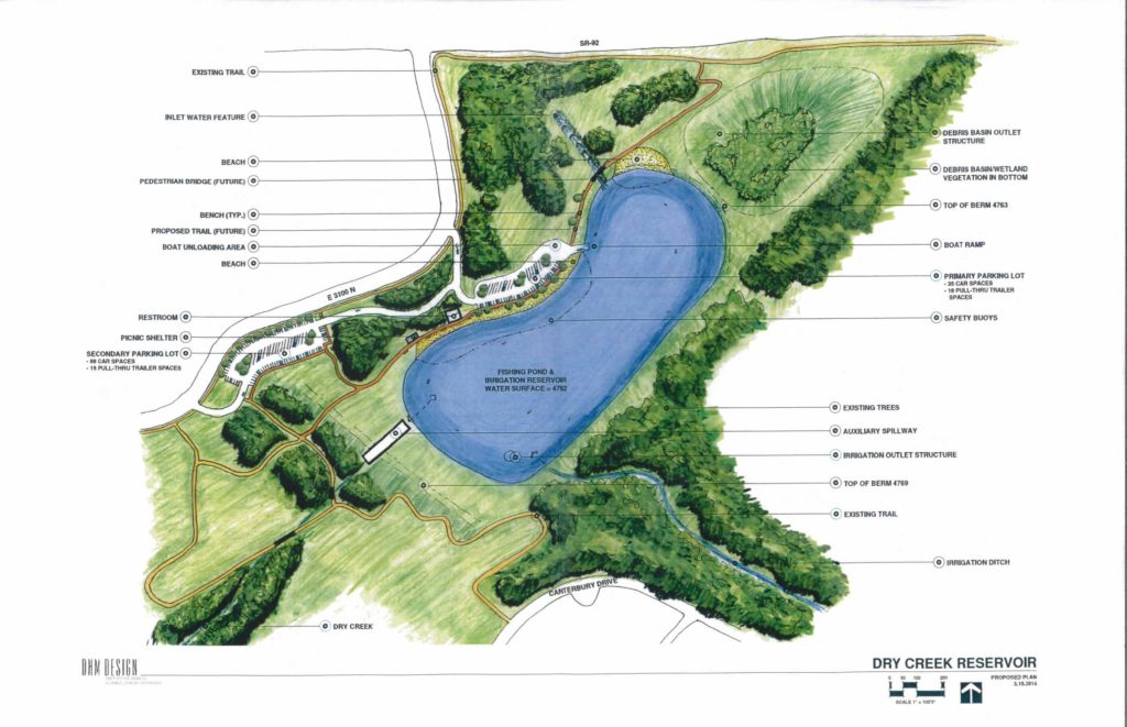 Rendering of Proposed Dry Creek Reservoir. Courtesy of Lehi City