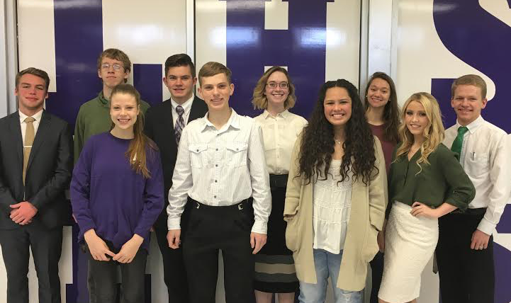 Front Row (L to R) JT Macedone, Spencer Heath, Collin Moore, Emma Watts, Jessica Cunningham, Travis Eggett. Back Row (L to R) Halee Nelson, Nathaniel Hannah, Kylee Haunga, Kadee Jo Jones.