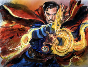 One of Stucki's paintings depicting Marvel superhero Dr. Strange.